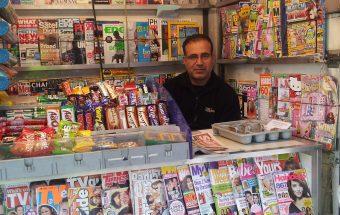 Abu Kalbin at the newspaper and magazine kiosk on the corner of iIslington High Street and Liverpool Road.