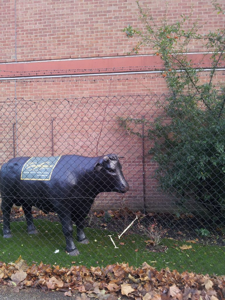 """Godfrey's looks set to open a new butcher shop in Finsbury Park by 2018. """"I've added this model of a bull to the factory so people know Islington's history,"""" says Chris Godfrey. """"It's an Aberdeen Angus – a replica of the prize bull Frank Godfrey bought in 1930 for Maxim's of Paris* and then marched down the Champs Elysees."""""""