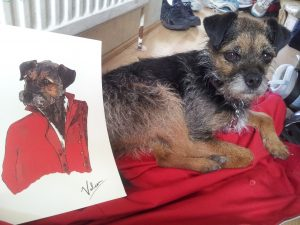 """James Lemon: """"I see your dog wearing a nice red suit with a collar and brass buttons, but a bit scruffy – Pete Docherty style."""" Turns out I couldn't resist having a portrait of my dog. """"it's a digital illustration, but I drew and inked him by hand before scanning the image to apply colour."""""""