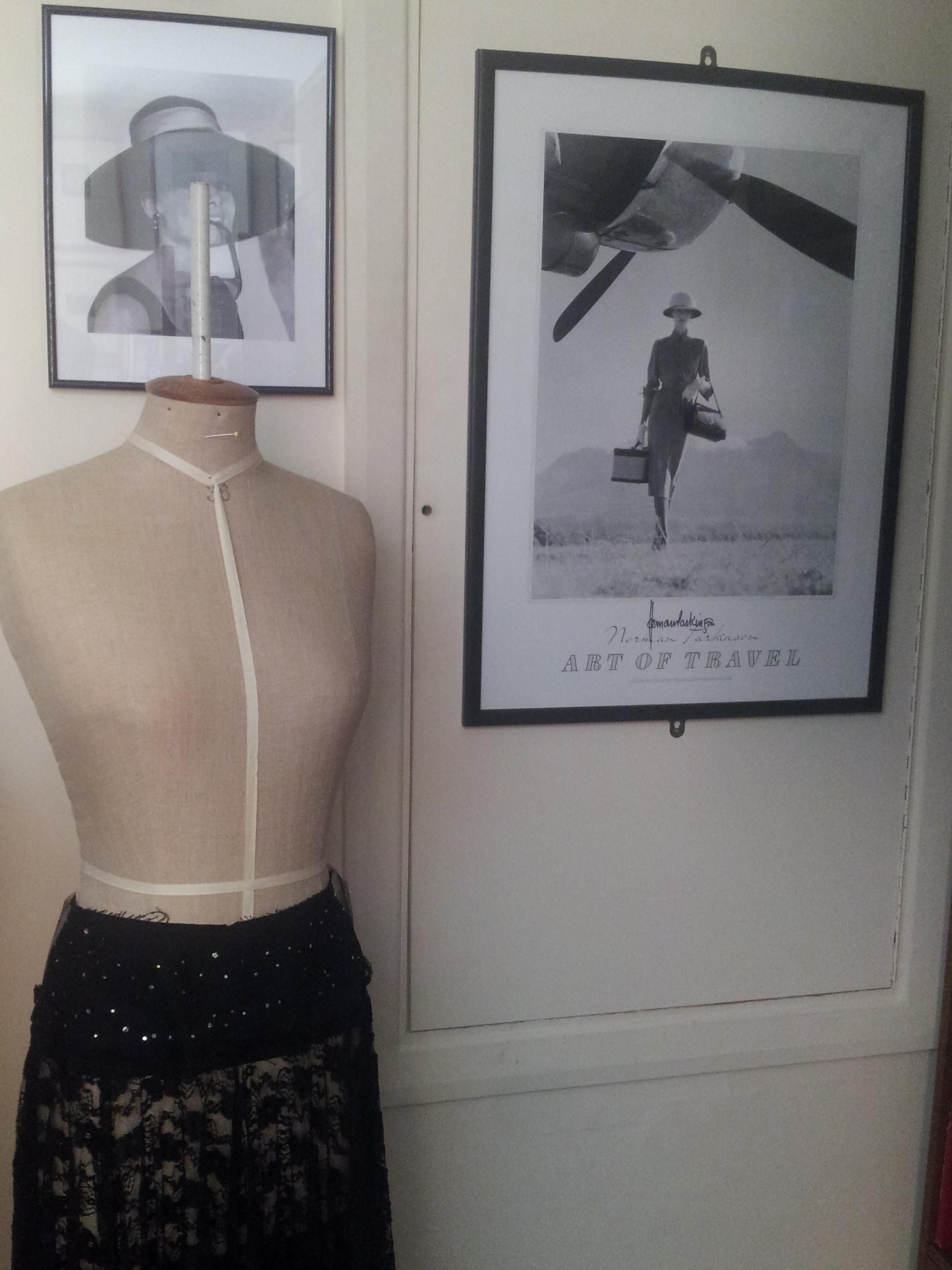 Dressmaking dummy in Annemarie Norton's studio - cleverly positioned by Aubrey Hepburn.