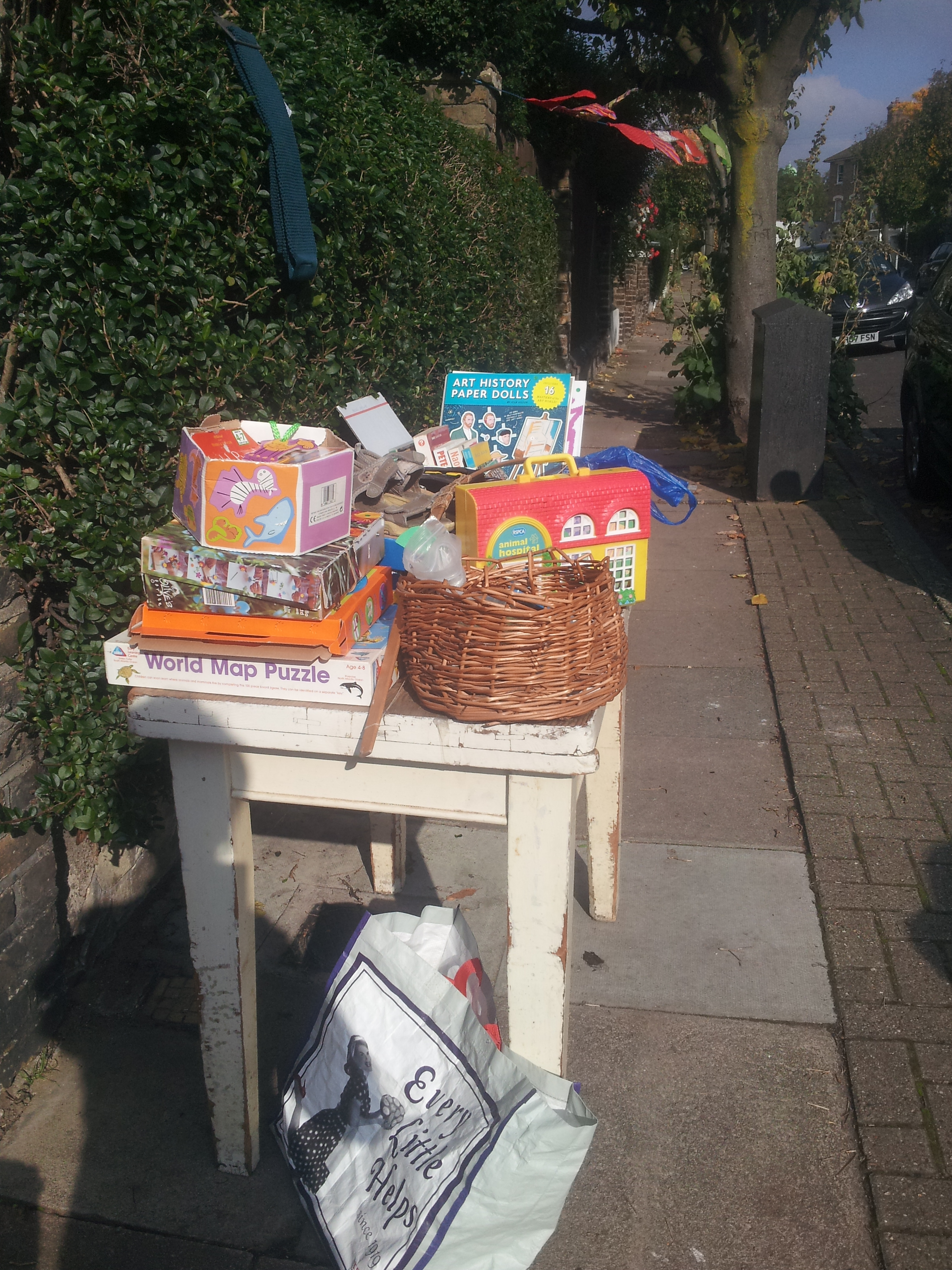 Stall on the Finsbury Park jumble trail championed by Caroline Dent.