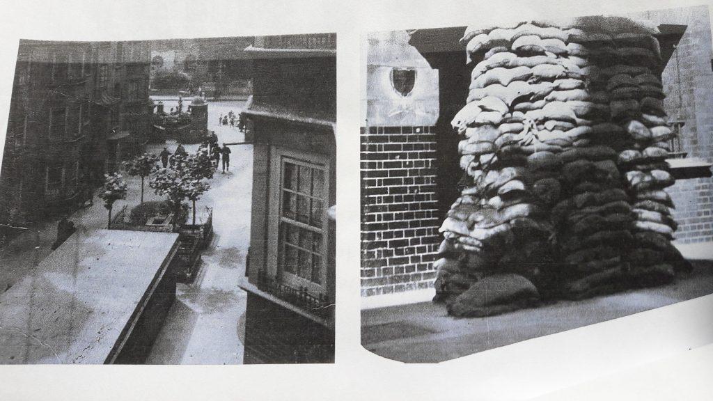 Sandbags round the Samuel Lewis buildings (c) Mavis Ring/Islington Faces