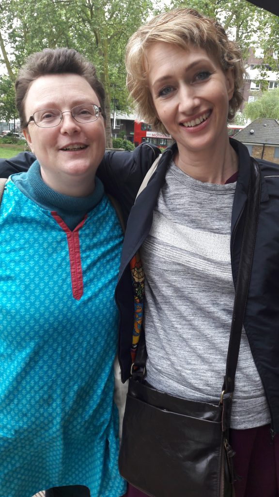 Roberta Wedge with author Bee Rowlatt, In Search of Mary - are part of Mary On The Green which is raising money to put a statue of Mary Wollstonecraft on Newington Green. (C) islington faces