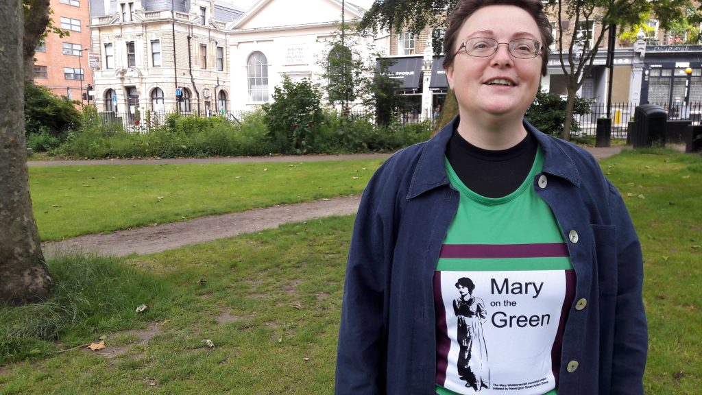 Roberta Wedge: champion for the Mary on the Green campaign to get a statue of Mary Wollstonecraft, the mother of feminism, put up on Newington Green. (c) islington faces