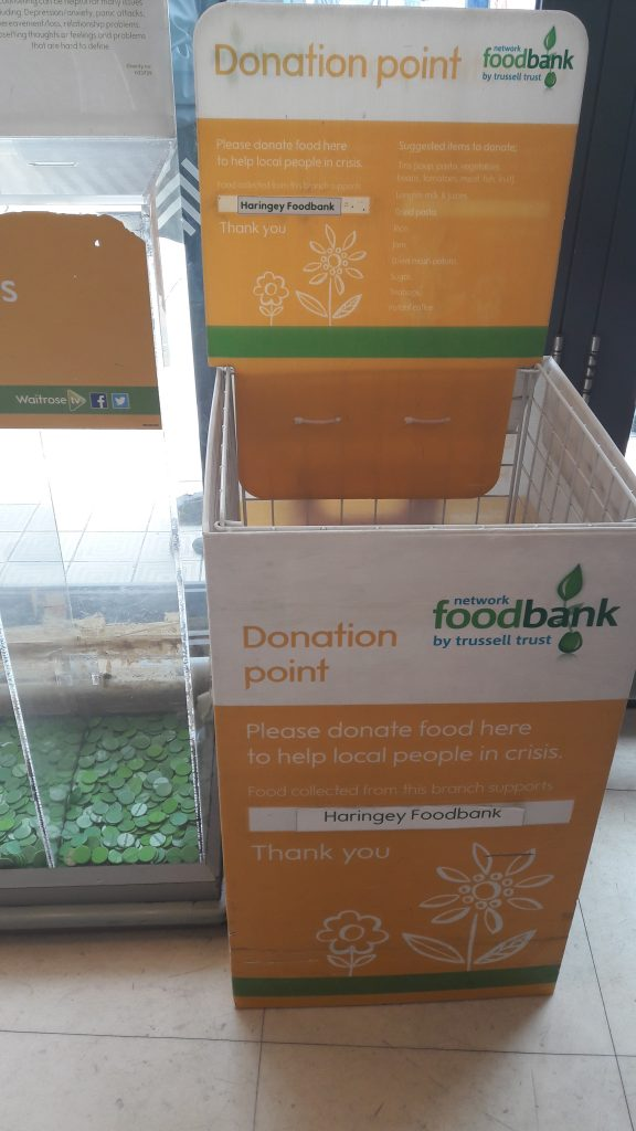 Waitrose collection point for the Trussel Trust which runs foodbanks nationwide.
