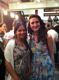 Saira gets a selfie with Bessie Carter at the after show party for The Roundabout. (c) Islington Faces