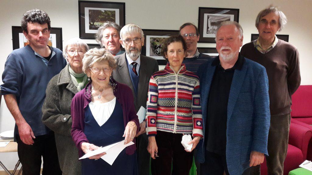 Talking News volunteer readers, editors and steering group members with Elizabeth Jones (in purple cardigan).