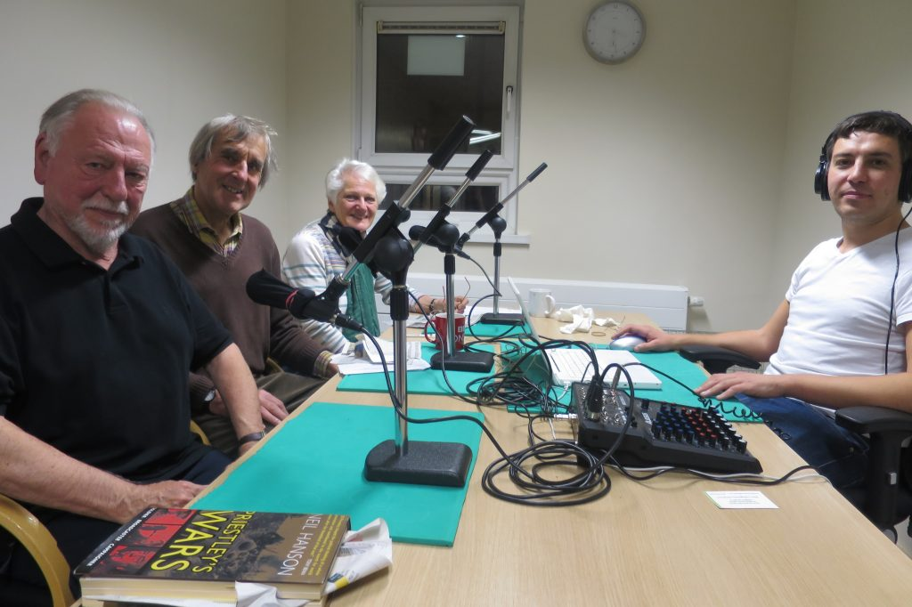 Talking News October readers: Kenneth Cranham, Charles Collett and Marion Flemming with sound engineer Ricky Russell.