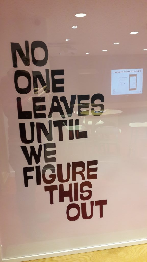 Reassuring message at Discovery with Three. (c) islington faces