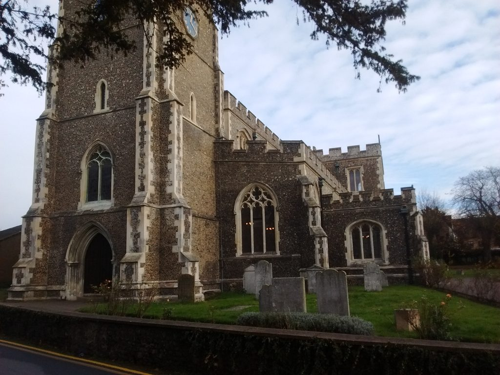 The church at Ware, where the oldest man in the UK is buried.